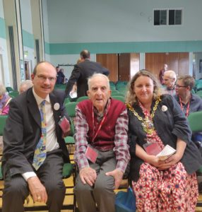 Sandy with Frank Bright and Jann Parry, the Mayor of Ipswich