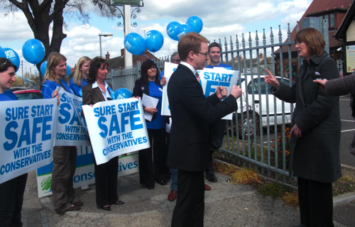 Harriet Harman MP with Conservative protesters who claimed 'Sure Start Safe with Conservatives'