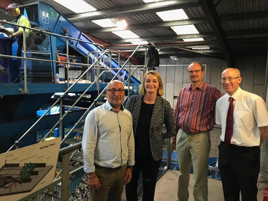 Sandy visiting Wastesavers, Newport with Jessica Morden MP9 Newport East) and Andrew Bishop (Welsh Government, Municipal Waste Branch of the Resource Efficiency & Circular Economy Division)