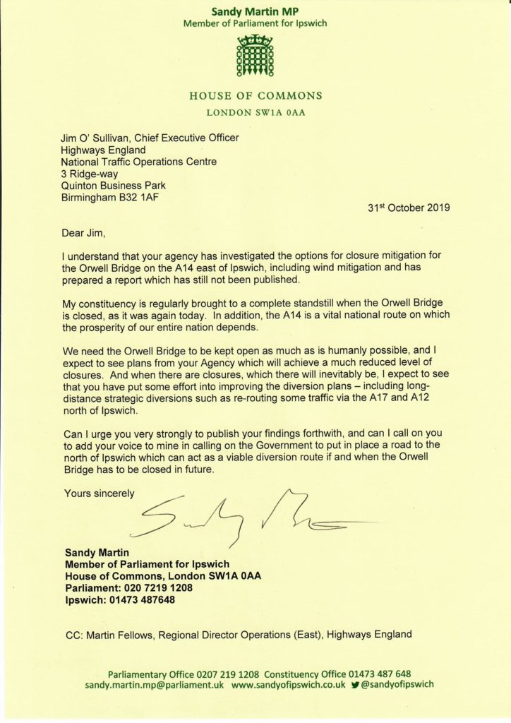 Letter to CEO Highways England